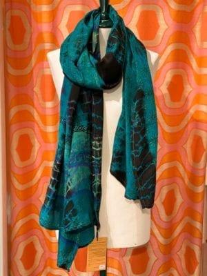 Vintage sarisilk Oversize scarf/sarong 3 grøn batik