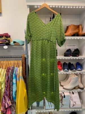 Vintage sarisilk maxidress cut sleeve Green S/M