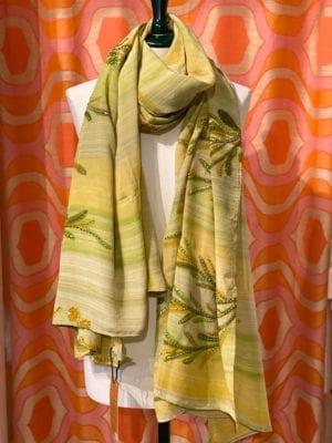 Vintage sarisilk Oversize scarf/sarong 6 Lime