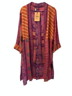 Vintage sarisilk short kimono lilac stripe mix M/L