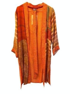 Vintage sarisilk short kimono orange stripe mix M/L