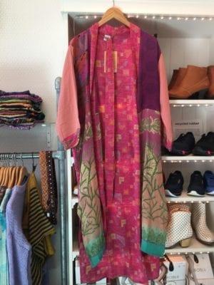 Vintage sarisilk Long kimono Pink/Plum mix Onesize