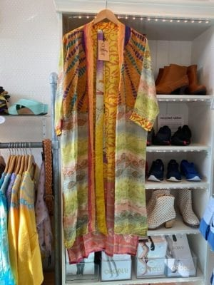 Vintage sarisilk Long kimono Yellow mix Onesize