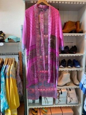 Vintage sarisilk Long kimono Pink mix Onesize