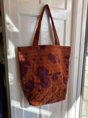 Quilt Tote Bag Orange/burgundy