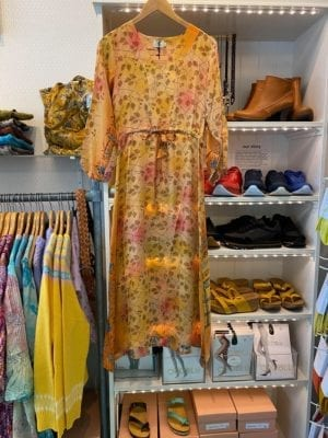 Vintage sarisilk maxidress long sleeve pastel yellow S/M