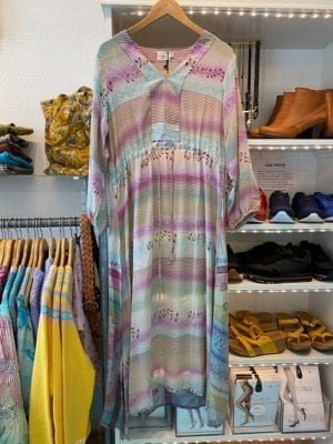 Vintage sarisilk maxidress long sleeve pastel dream M/L