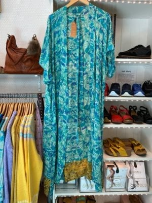 Vintage sarisilk Long Oversize kimono Aqua Onesize