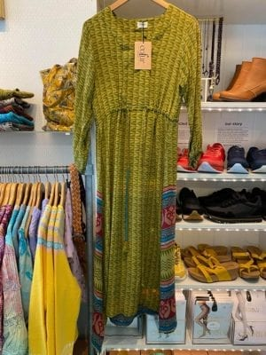 Vintage sarisilk maxidress long sleeve Green S/M