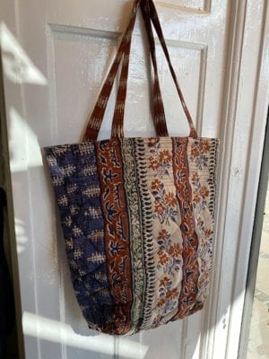 Quilt Tote Bag Blue/toffee
