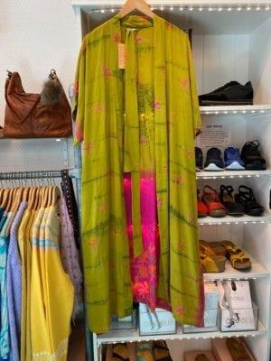 Vintage sarisilk Long Oversize kimono pink/lime Onesize