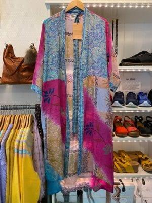 Vintage sarisilk Long kimono Pink/pastelblue mix Onesize