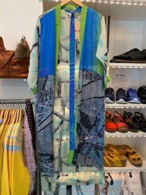 Vintage sarisilk Long kimono clear blue/green mix Onesize