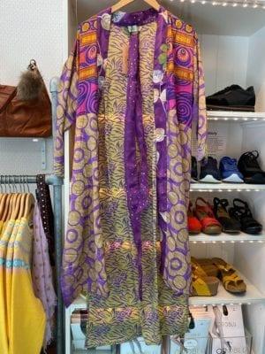 Vintage sarisilk Long kimono lilac/gold mix Onesize