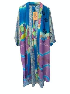 Vintage sarisilk Long kimono lilac/pastelblue mix Onesize
