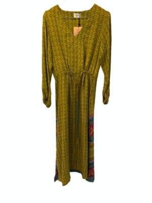 Vintage sarisilk maxidress long sleeve Green S/M
