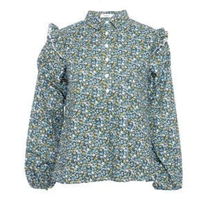 Tilla-Blouse cotton blue flower