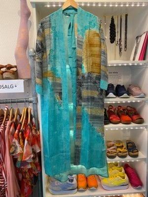 Vintage sarisilk Long kimono Minty mix Onesize