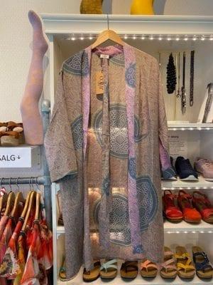 Vintage sarisilk short kimono Soft Lilac Onesize