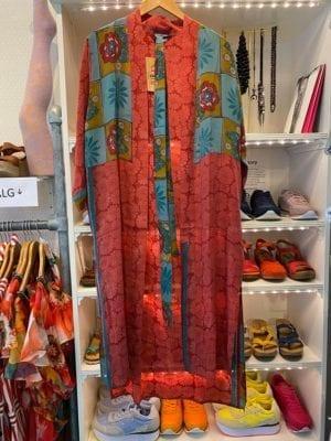 Vintage sarisilk Long kimono vintage rose mix Onesize