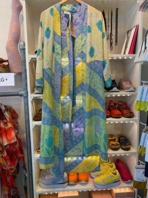 Vintage sarisilk Long kimono pastel Blue/yellow mix Onesize