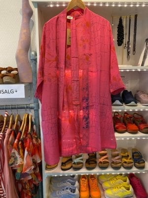 Vintage sarisilk short kimono Bright pink Onesize