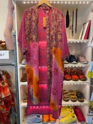 Vintage sarisilk Long kimono Pink stripe mix Onesize