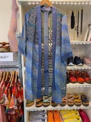 Vintage sarisilk short kimono Lavenderblue Onesize