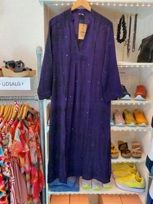 Vintage sarisilk Goa maxidress Purple dip dye M/L