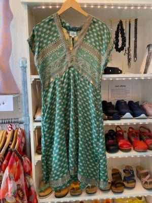 Vintage sarisilk Casual dress Green S/M