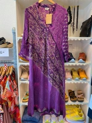 Vintage sarisilk Goa maxidress purple mix XS