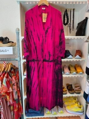 Vintage sarisilk Goa maxidress Pink dip dye M/L
