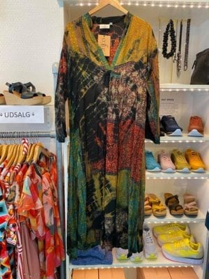 Vintage sarisilk Goa maxidress multi mix dip dye M/L
