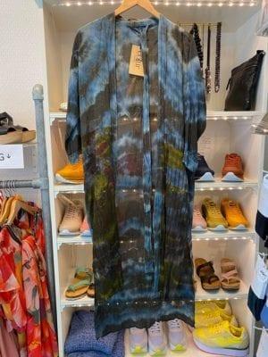 Vintage sarisilk Long kimono Blue Dip dye Onesize