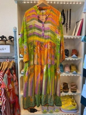 Vintage sarisilk maxidress orange/green mix S/M