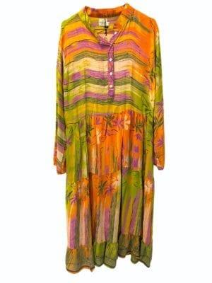 Vintage sarisilk maxidress orange/green mix S/M