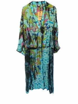 Vintage sarisilk Goa maxidress Pastel blue dip dye M/L