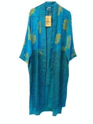 Vintage sarisilk Long kimono Turkis mix Onesize