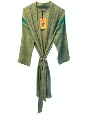 Vintage sarisilk short kimono Pastelgreen flowers Onesize