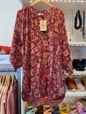 Vintage sarisilk Tunic Burgundy rose M/L