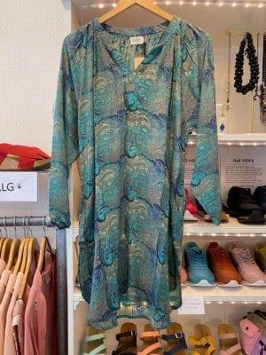 Vintage sarisilk Tunic Blue paisley M/L
