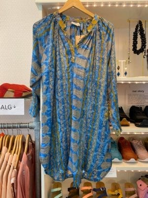 Vintage sarisilk Tunic Blue Mustard satin M/L