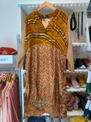 Vintage sarisilk shirtdress Caramel mix M/L