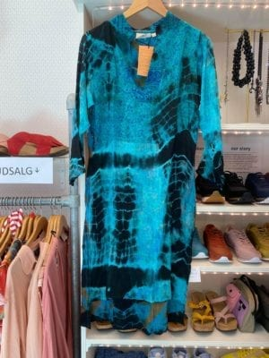 Vintage sarisilk shirtdress Turquoise Dip dye S/M
