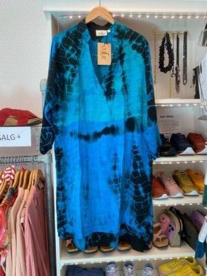 Vintage sarisilk shirtdress Turquoise dip dye XL