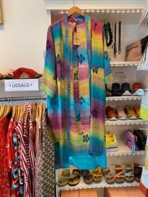 Vintage sarisilk Long kimono vintage Rainbow Onesize