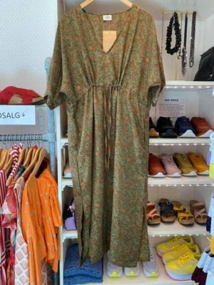 Vintage sarisilk Pernille dress Army/rust Onesize