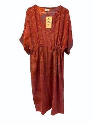 Vintage sarisilk Pernille dress pep rose Onesize