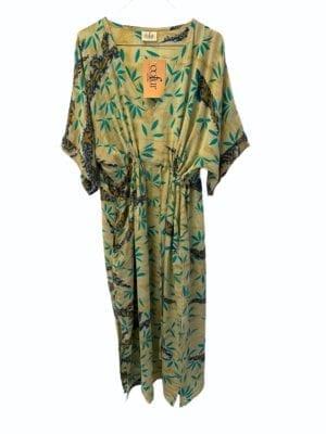 Vintage sarisilk Pernille dress Beige/turquoise Onesize