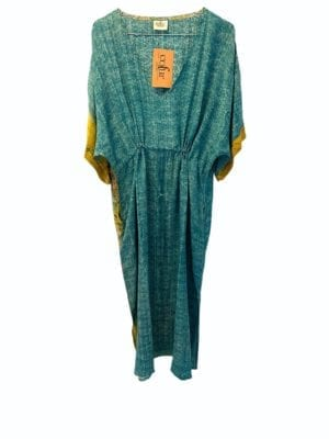 Vintage sarisilk Pernille dress turquoise beach Onesize
